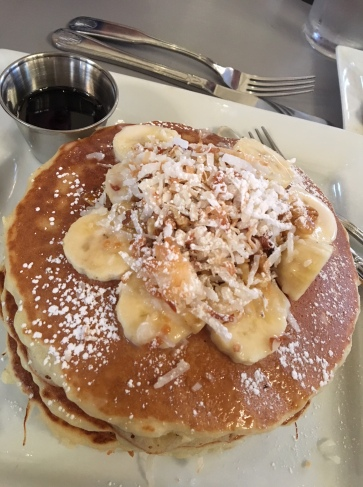 toasted coconut pancakes with banana and walnuts- sorta healthy, right?